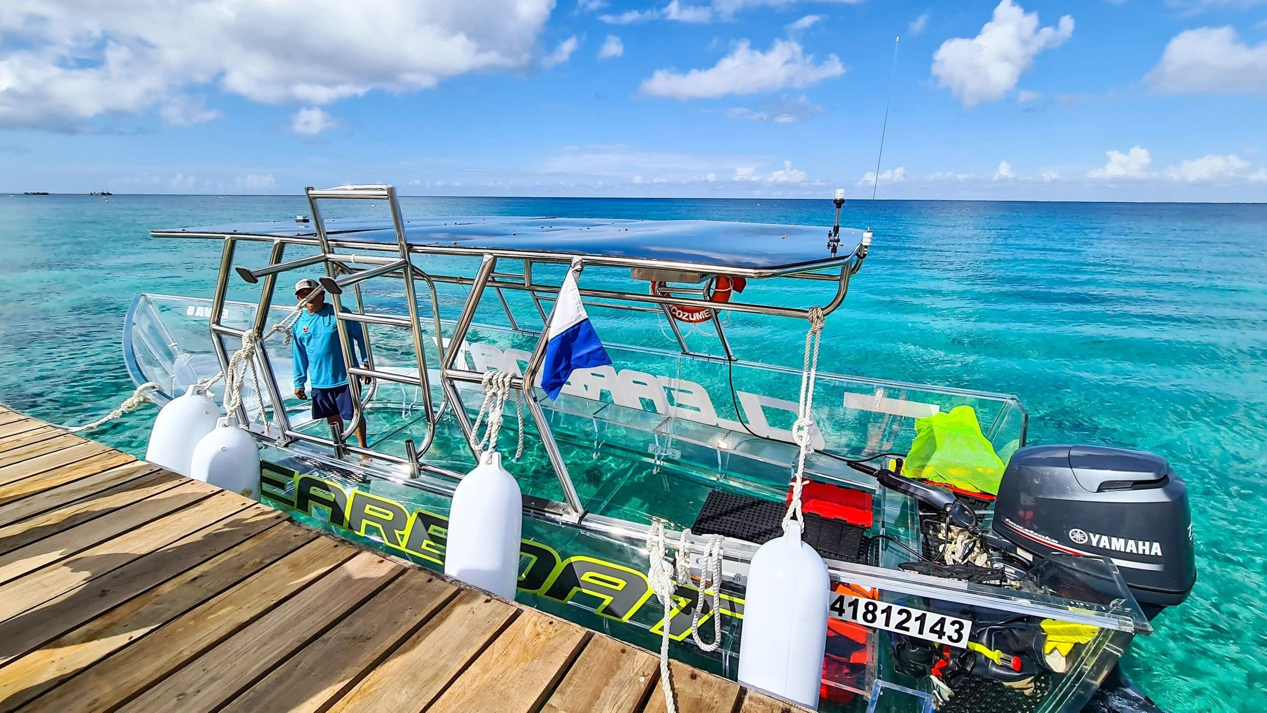 Clear boat Cozumel Jeep Riders Cozumel Tour